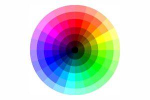 Ce cercle chromatique est ici représenté avec un axe noir entouré par les couleurs primaires, secondaires et tertiaires.
