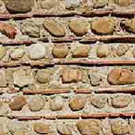 Mur - Galets et terre cuite