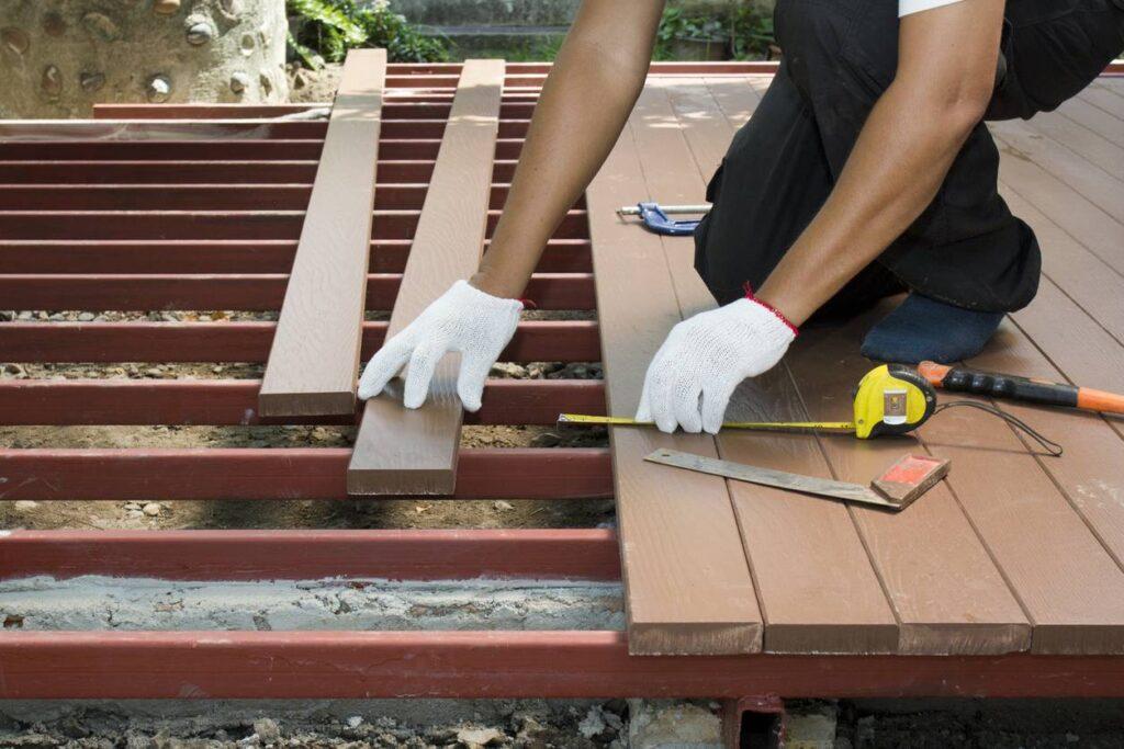 travaux d'aménagement d'une terrasse