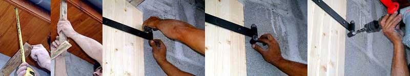 insérez une planchette entre le linteau et les volets